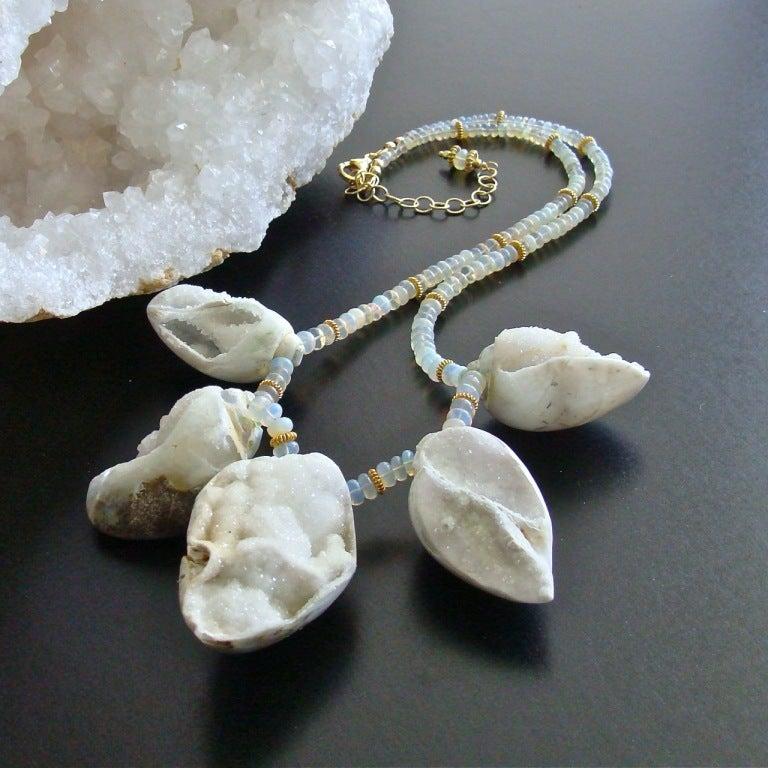 Fossilized Druzy Shells Ethiopian Opals - Zara Necklace For Sale 3