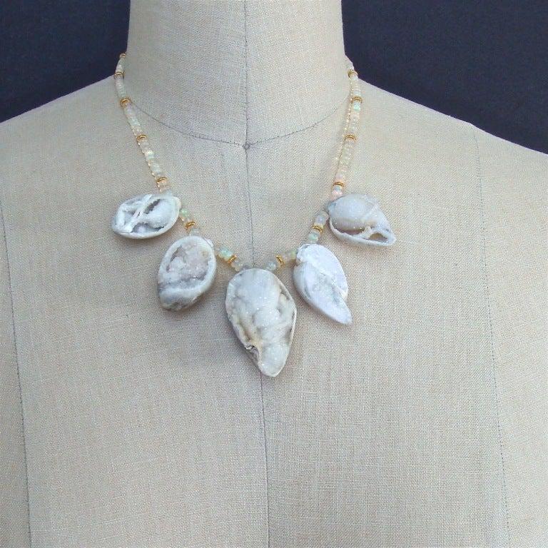 Fossilized Druzy Shells Ethiopian Opals - Zara Necklace For Sale 4