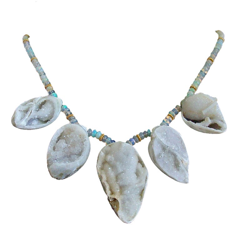Fossilized Druzy Shells Ethiopian Opals - Zara Necklace