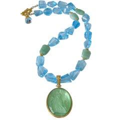 Glass Italian Intaglio Blue Topaz Green Opal Necklace