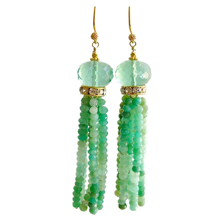 chrysoprase green fluorite tassel earrings coralia