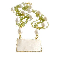 Antique Chinese Game Counter Peridot Baroque Pearls Necklace