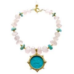 Intaglio Griffin Pendant Rose Quartz Blue Peruvian Opal Necklace