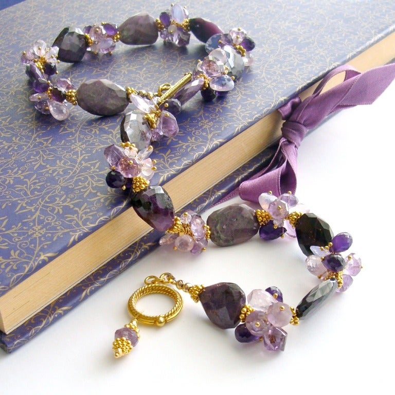 Sugilite Slabs Necklace Amethyst Lavender Opal Rose Quartz 5