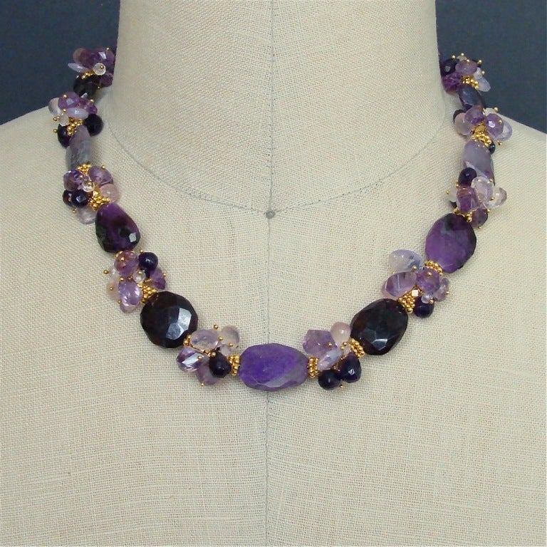 Sugilite Slabs Necklace Amethyst Lavender Opal Rose Quartz 8