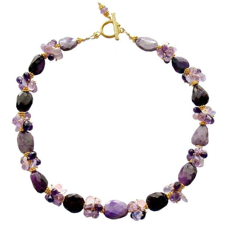 Sugilite Slabs Necklace Amethyst Lavender Opal Rose Quartz 1