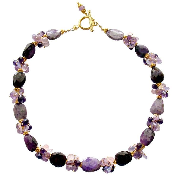 sugilite slabs necklace amethyst lavender opal quartz