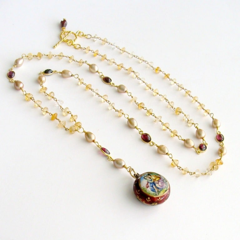 Victorian Enamel Vinaigrette Necklace Citrine And Garnet