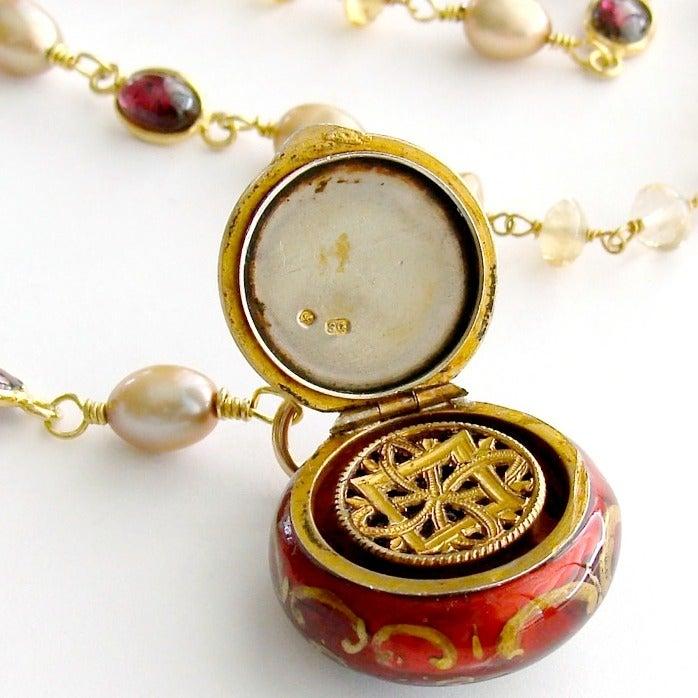 Victorian Enamel Vinaigrette Necklace Citrine & Garnet - Brezza Floreale 4