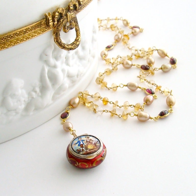 Victorian Enamel Vinaigrette Necklace Citrine & Garnet - Brezza Floreale 5