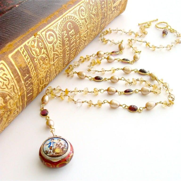 Victorian Enamel Vinaigrette Necklace Citrine & Garnet - Brezza Floreale 6