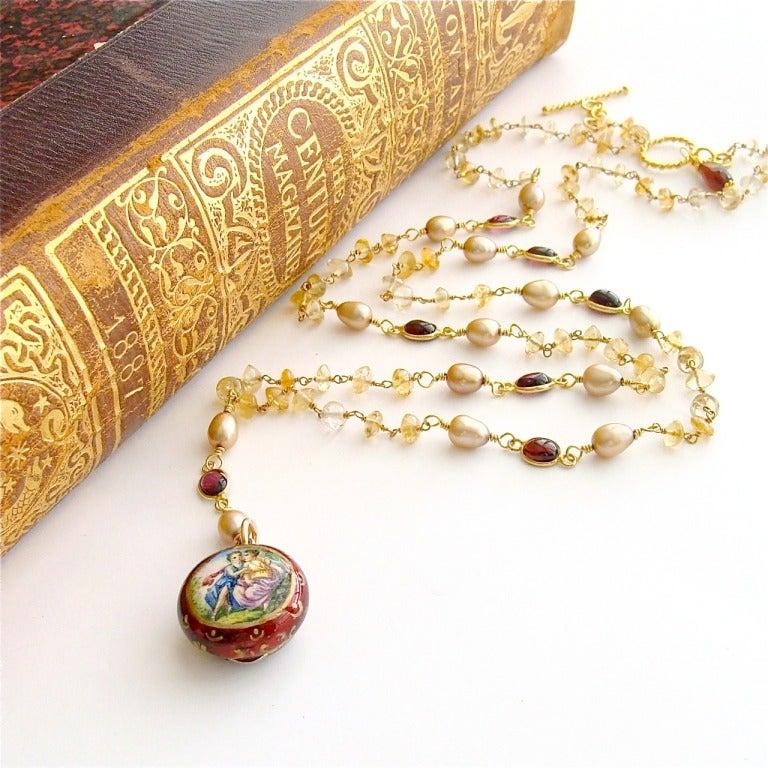 Victorian Enamel Vinaigrette Necklace Citrine & Garnet - Brezza Floreale 7