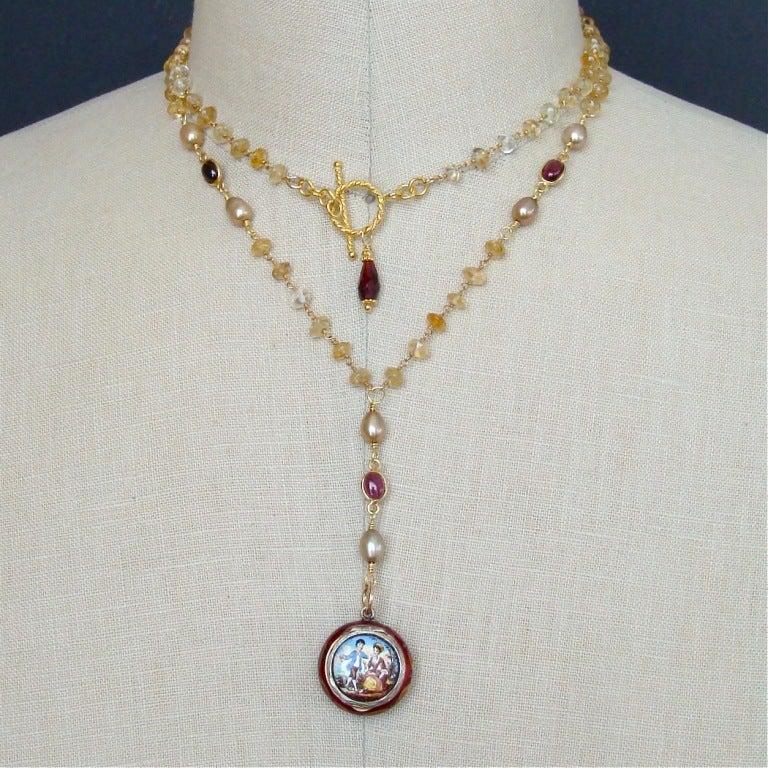 Victorian Enamel Vinaigrette Necklace Citrine & Garnet - Brezza Floreale 8