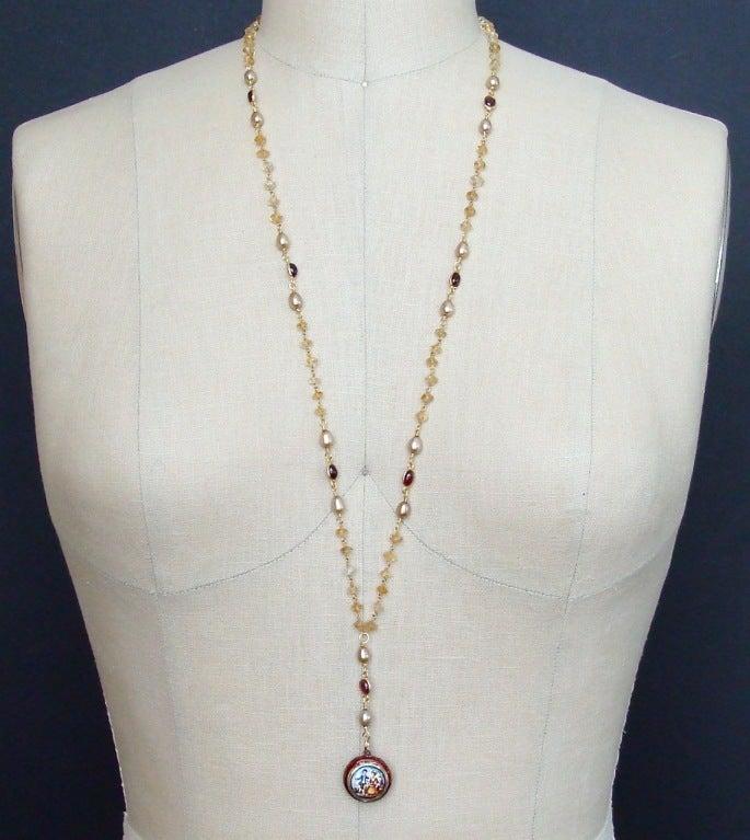 Victorian Enamel Vinaigrette Necklace Citrine & Garnet - Brezza Floreale 9