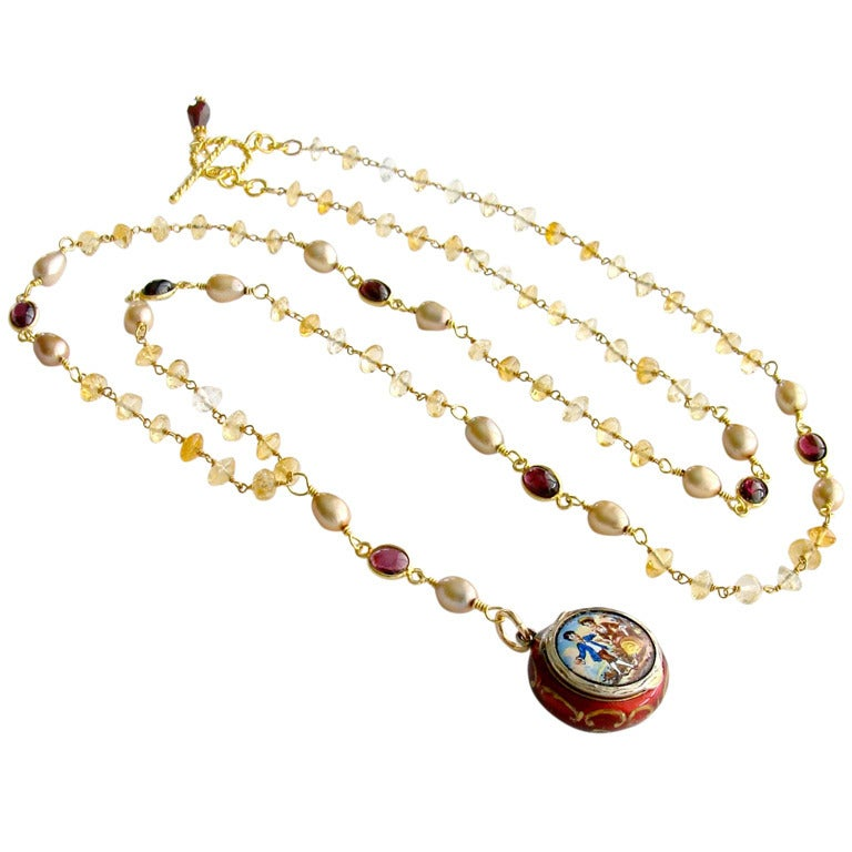 Victorian Enamel Vinaigrette Necklace Citrine & Garnet - Brezza Floreale 1