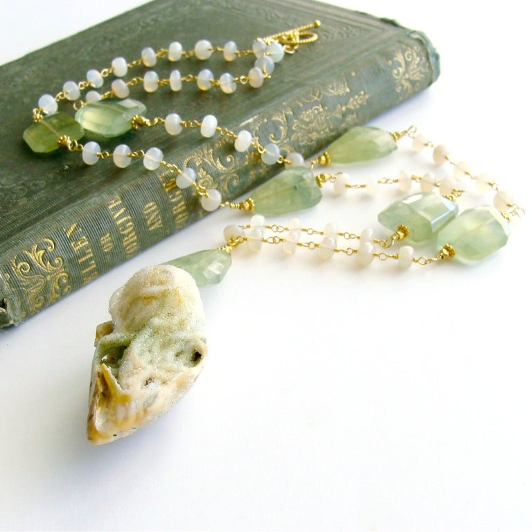 Fossilized Druzy Shell Ethiopian Opals Prehnite Necklace 2