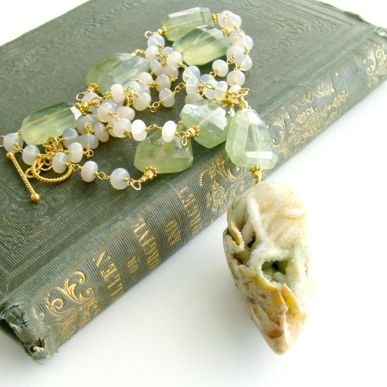 Fossilized Druzy Shell Ethiopian Opals Prehnite Necklace 3