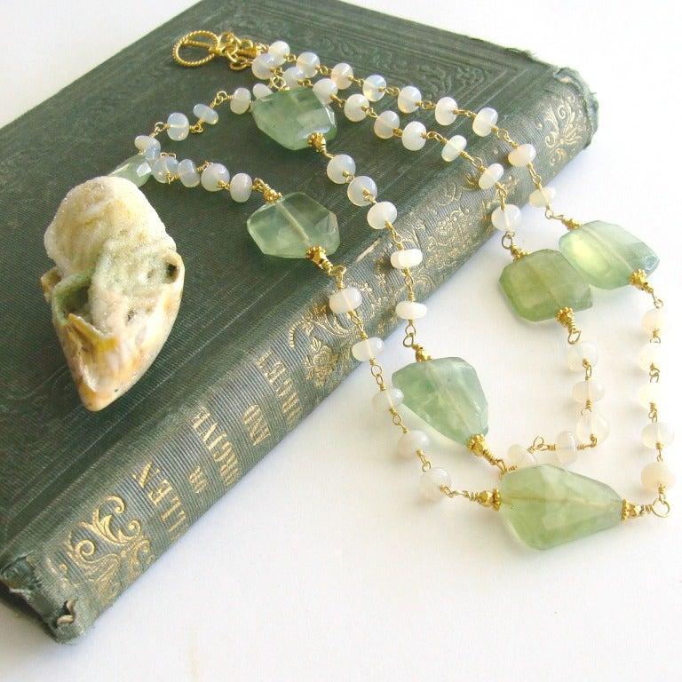 Fossilized Druzy Shell Ethiopian Opals Prehnite Necklace 4