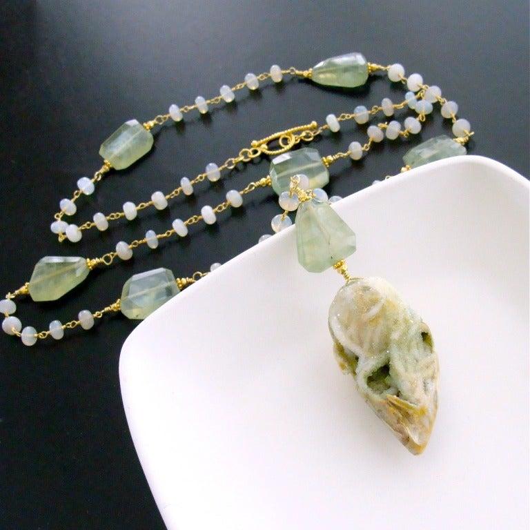 Fossilized Druzy Shell Ethiopian Opals Prehnite Necklace 5
