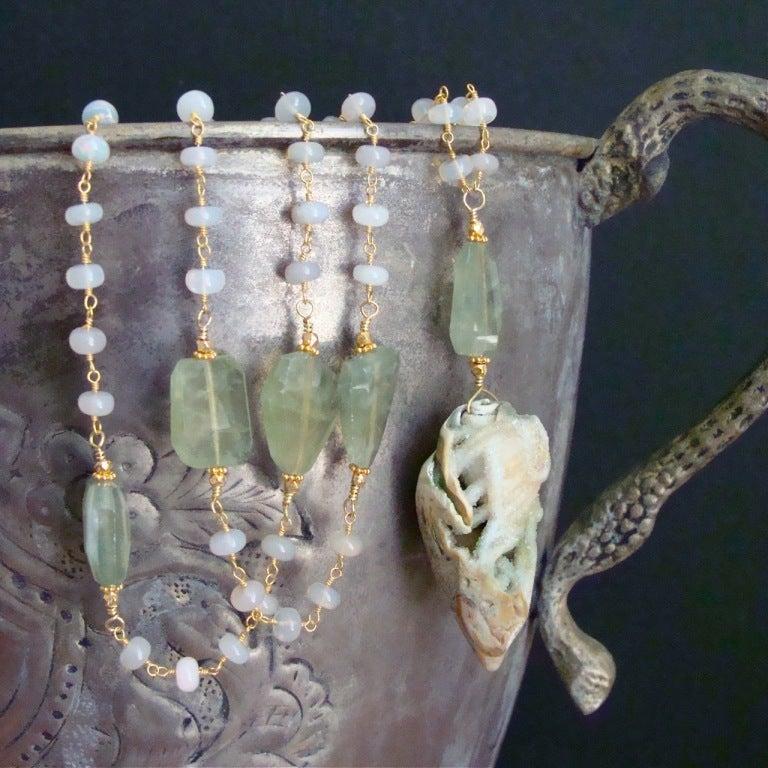Fossilized Druzy Shell Ethiopian Opals Prehnite Necklace 6