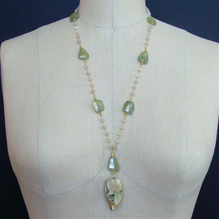 Fossilized Druzy Shell Ethiopian Opals Prehnite Necklace 7
