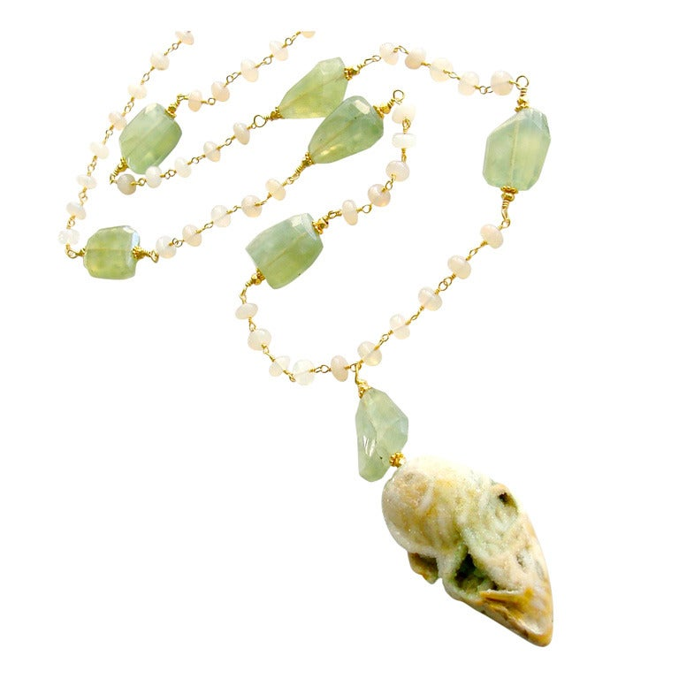 Fossilized Druzy Shell Ethiopian Opals Prehnite Necklace 1