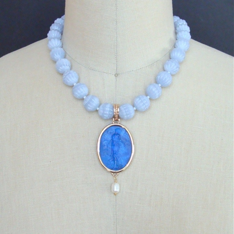 carved blue lace agate venetian intaglio necklace isola