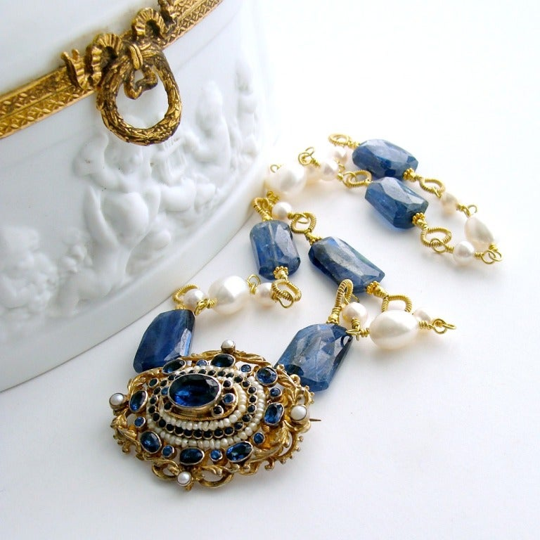 Georgian Austro Hungarian Brooch Kyanite Freshwater Pearls Necklace For Sale
