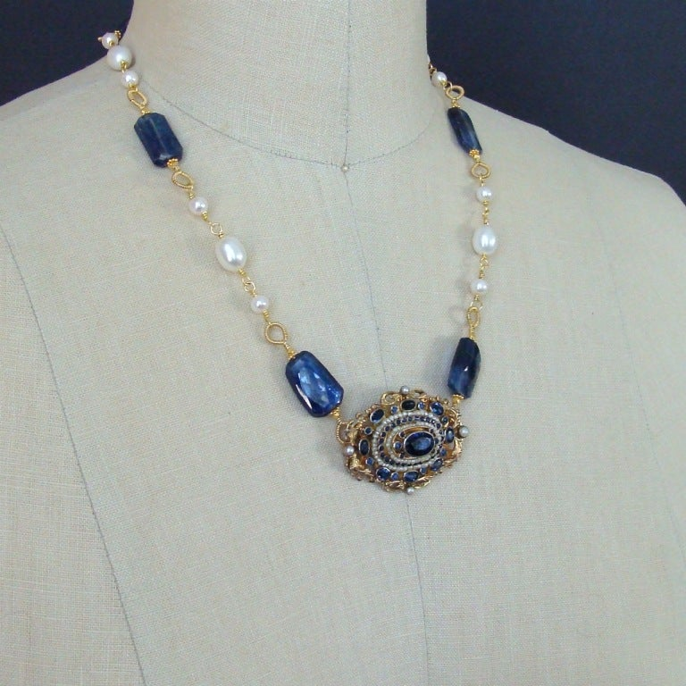 Austro Hungarian Brooch Kyanite Freshwater Pearls Necklace In As New Condition For Sale In Scottsdale, AZ