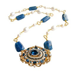 Austro Hungarian Brooch Kyanite Freshwater Pearls Necklace