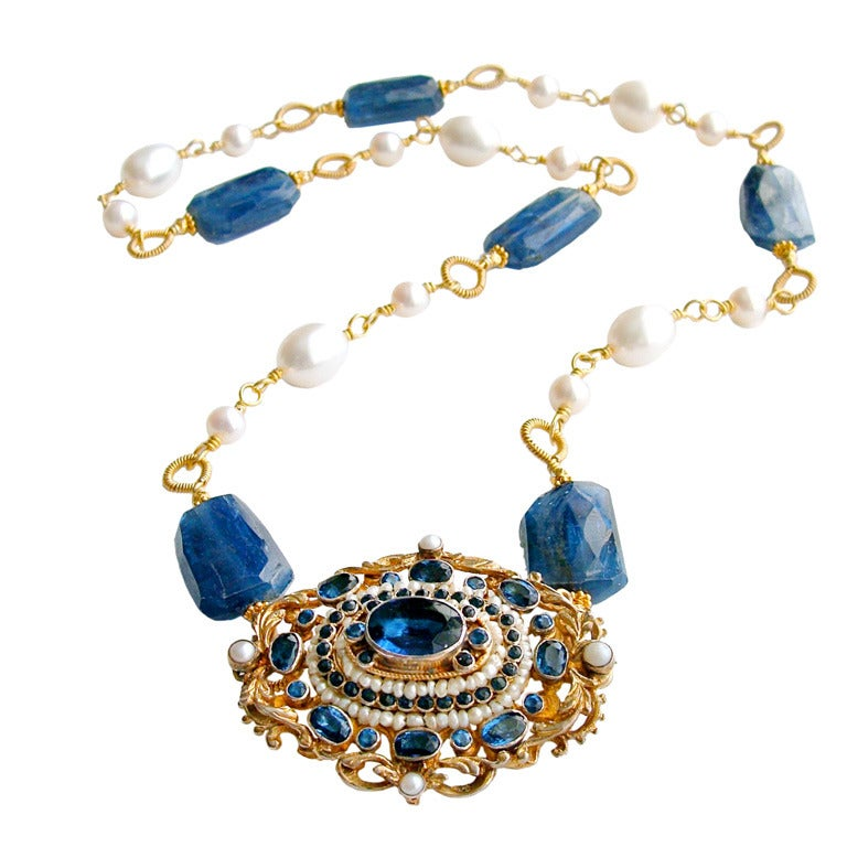 Austro Hungarian Brooch Kyanite Freshwater Pearls Necklace For Sale