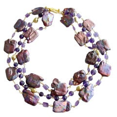 Purple Jumbo Square Pearls Faceted Amethyst Triple Strand Necklace