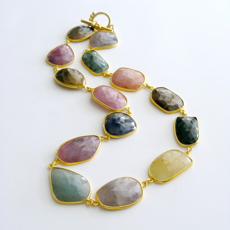 Multicolored Sapphire Slice Choker Necklace Suzie At 1stdibs