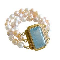 Luxe Aquamarine Clasp Peach Pink Lilac White Pearls Cuff Bracelet - Tricia Bracelet