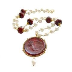 Red Venetian Intaglio Cameo Quartz Pearl Ruby Vittoria Angel Necklace