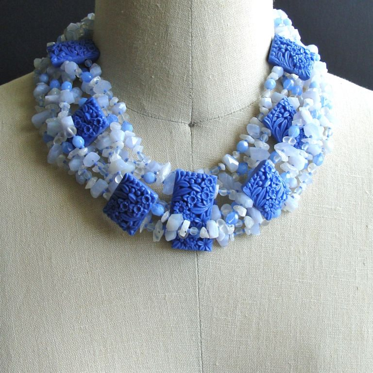blue lace agate and moonstone vintage style necklace at