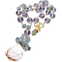 Mignon - Pink Amethyst and Aquamarine Necklace with Lepidolite P