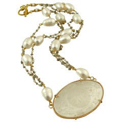 Le Jeton - Antique Chinese Game Counter Pendant with Raw Diamond
