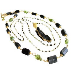 Annette Layering Necklaces - Green Tourmaline,  Peridot and Raw