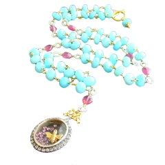 Peruvian Opal & Pink Sapphires Necklace / Locket - Abeille