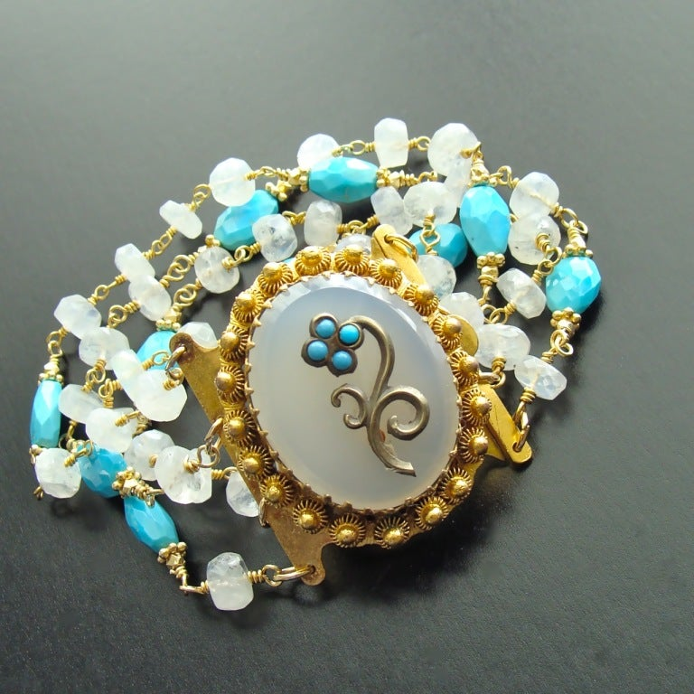 Sleeping Beauty Turquoise Moonstone Georgian Pinchbeck Clasp Bra In As new Condition For Sale In Scottsdale, AZ