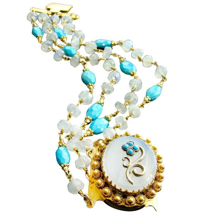 Sleeping Beauty Turquoise Moonstone Georgian Pinchbeck Clasp Bra For Sale