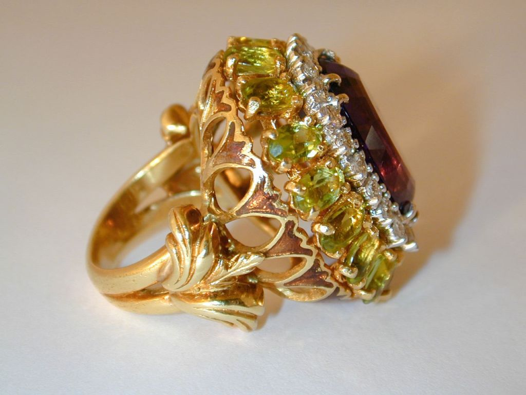 Peridot Diamond Cocktail Ring