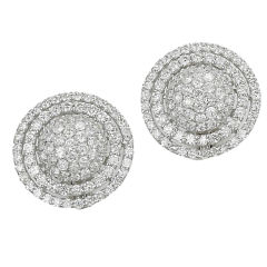 18KT White Gold and Diamond Button Earrings