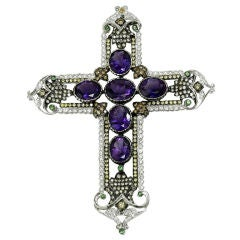 Amethyst, Diamond and Tsavorite Cross Pendant
