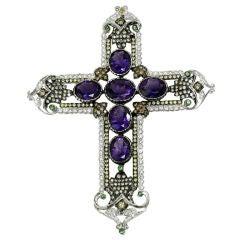 Amethyst, Diamond and Tsavorite Cross Pendant