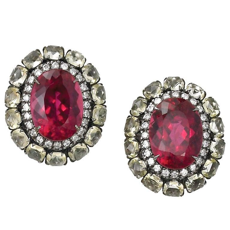 Rubellite Diamond And Rose Cut Quartz Earrings At 1stdibs