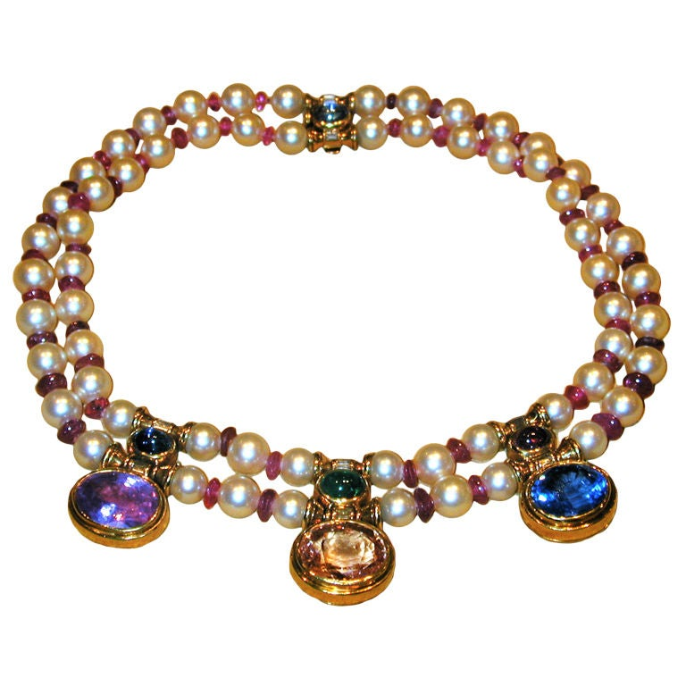 Bulgari Pearl Necklace: BULGARI Sapphire Pearl Ruby And Emerald Necklace At 1stdibs