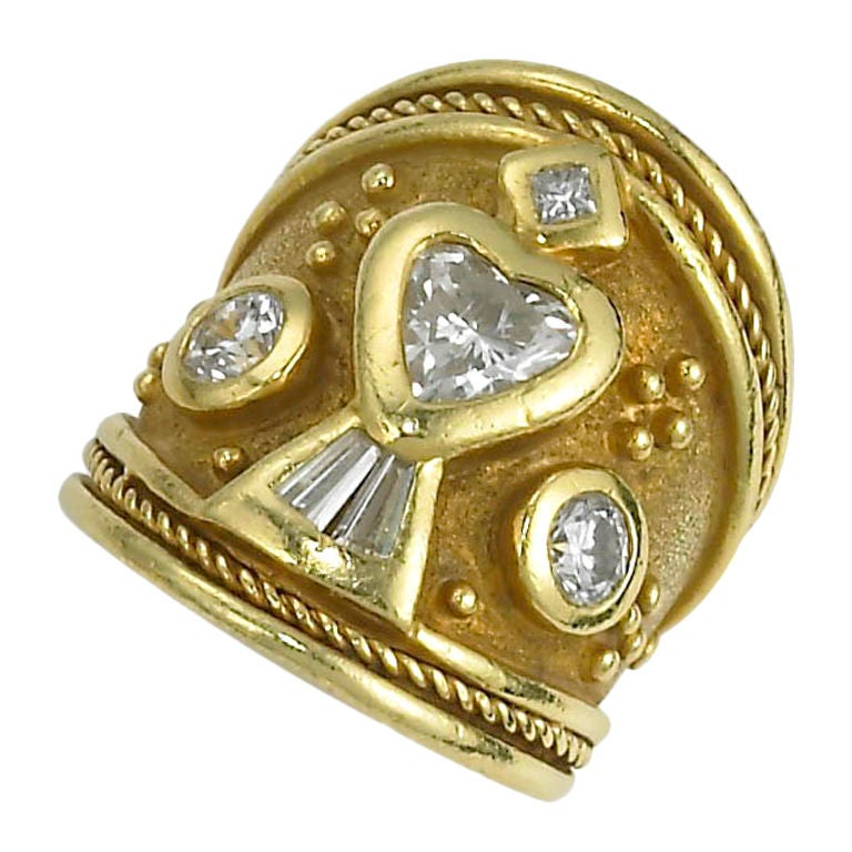 gold and wide band ring at 1stdibs