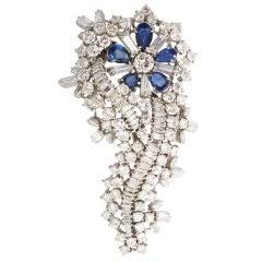 Fine Diamond and Sapphire Brooch